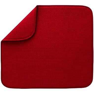 S&T Microfiber Dish Drying Mat, 16  x 18 , Red