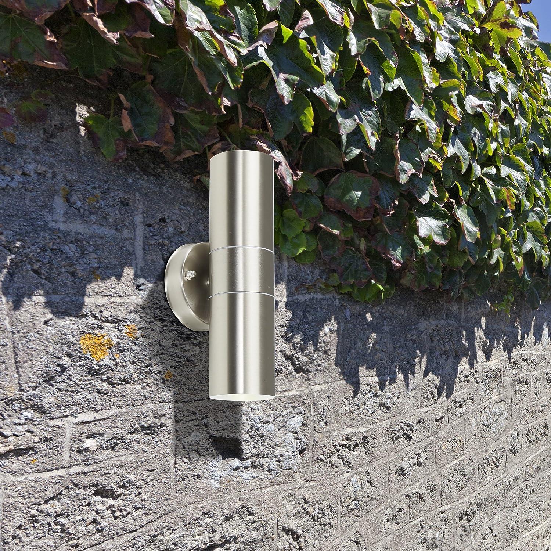 MiniSun - Aplique de pared moderno para exterior de acero inoxidable - con salida de luz inferior y superior - lámpara clasificada IP44: Amazon.es: ...