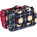 Signature Leisure Red Tartan or Blue Check Large 150x180cm Fleece Picnic Blanket with Waterproof Backing - Lightweight Compact Picnic Travel Rug - Baby Crawling or Child Play Mat (Blue)