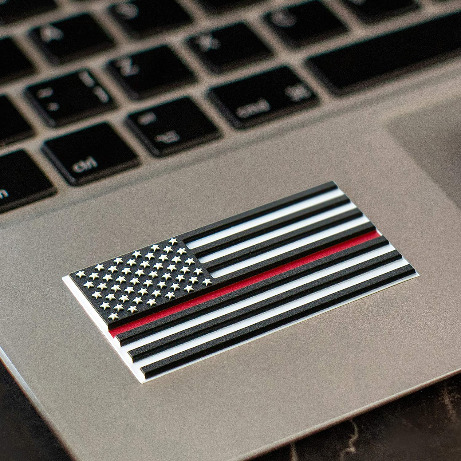 American Flag Red Line Sticker – 3D Premium Firefighter Red Line Decal Phone – 10 in Pack Firefighter Decals Laptop Toolbox 2.375 х 1.25 Inch Vinyl Firefighter Stickers – Raised Stars Stripes