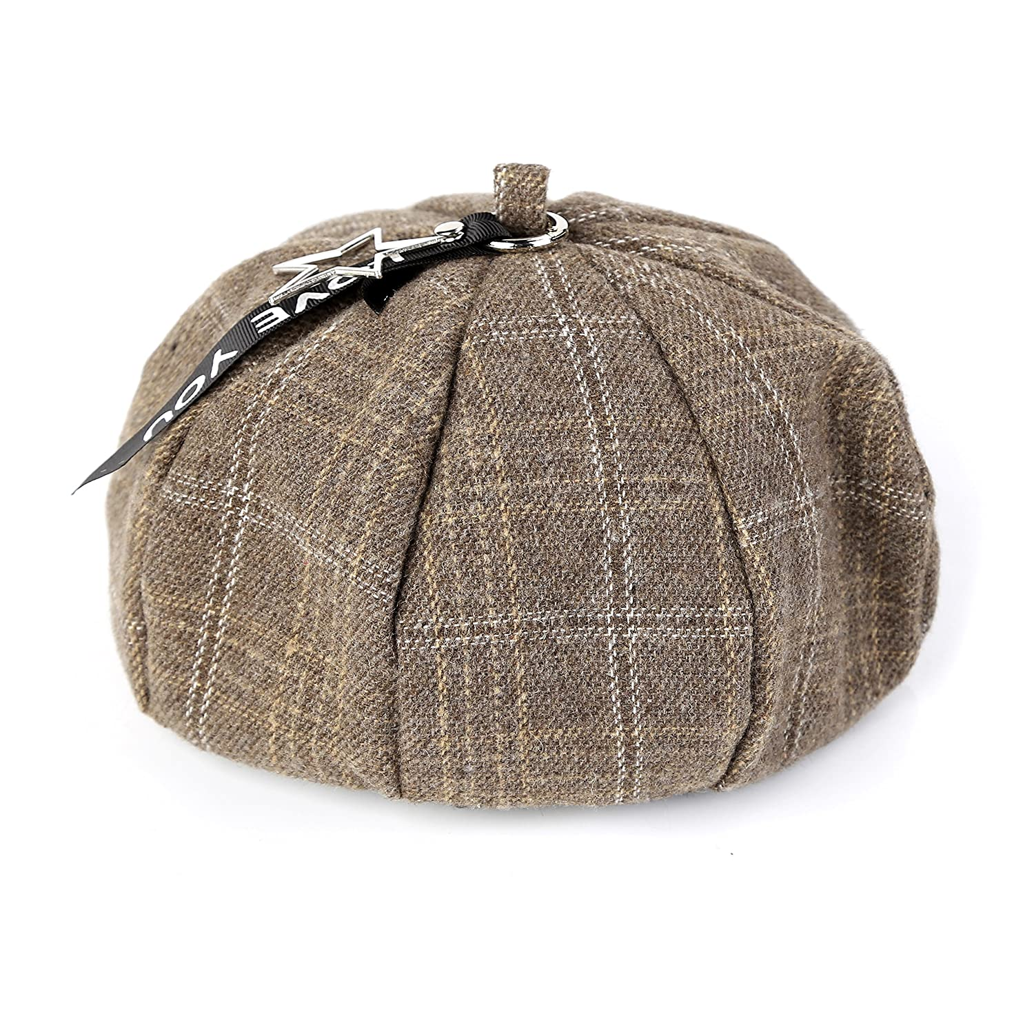 Women French Plaid Beret Vintage Wool Soft Winter Warm Beret Beanie Hat