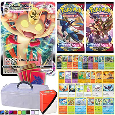Totem World Sword and Shield VMAX Guaranteed with 2 Booster Packs, 5 Rares, 5 Foil Holo, 20 Pokemon Cards, 65ct Elite Trainer Sleeves Zacian or Zamazenta, Totem Deck Box and 1-Tier Clear Storage Case: Toys & Games
