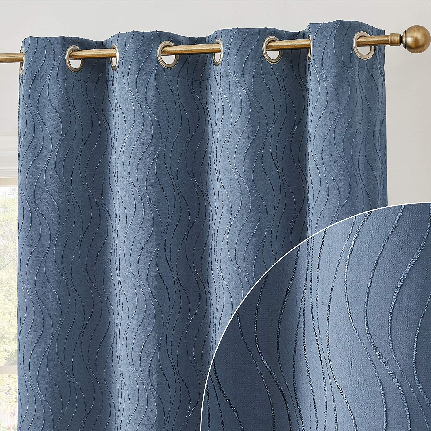 HLC.ME Camden 100% Complete Full Blackout 2 Layer Winter Heat Thermal Insulated Soundproof Floor Length Wide Window Curtain Drapery Grommet Panels for Office, Set of 2 (50 W x 84 L, Marine/Navy Blue)