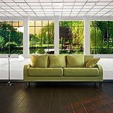 ag design fts 1314 garten fenster papier fototapete 360x254 cm 4 teile papier. Black Bedroom Furniture Sets. Home Design Ideas