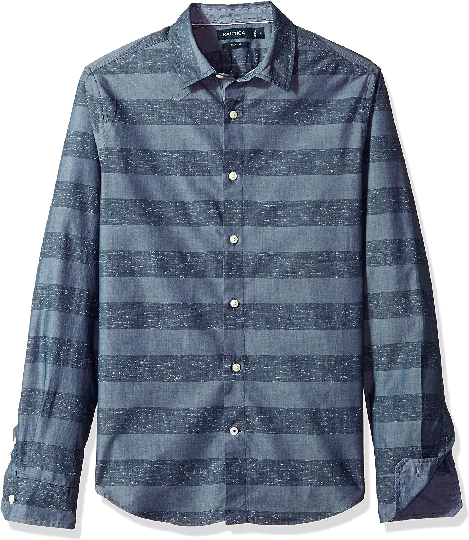 Nautica Slim Fit Camisa de rayas horizontales con botones ...