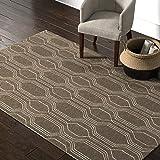 Amazon Brand – Rivet Steel Slanted Lines Wool Modern Area Rug, 5 x 8 Foot