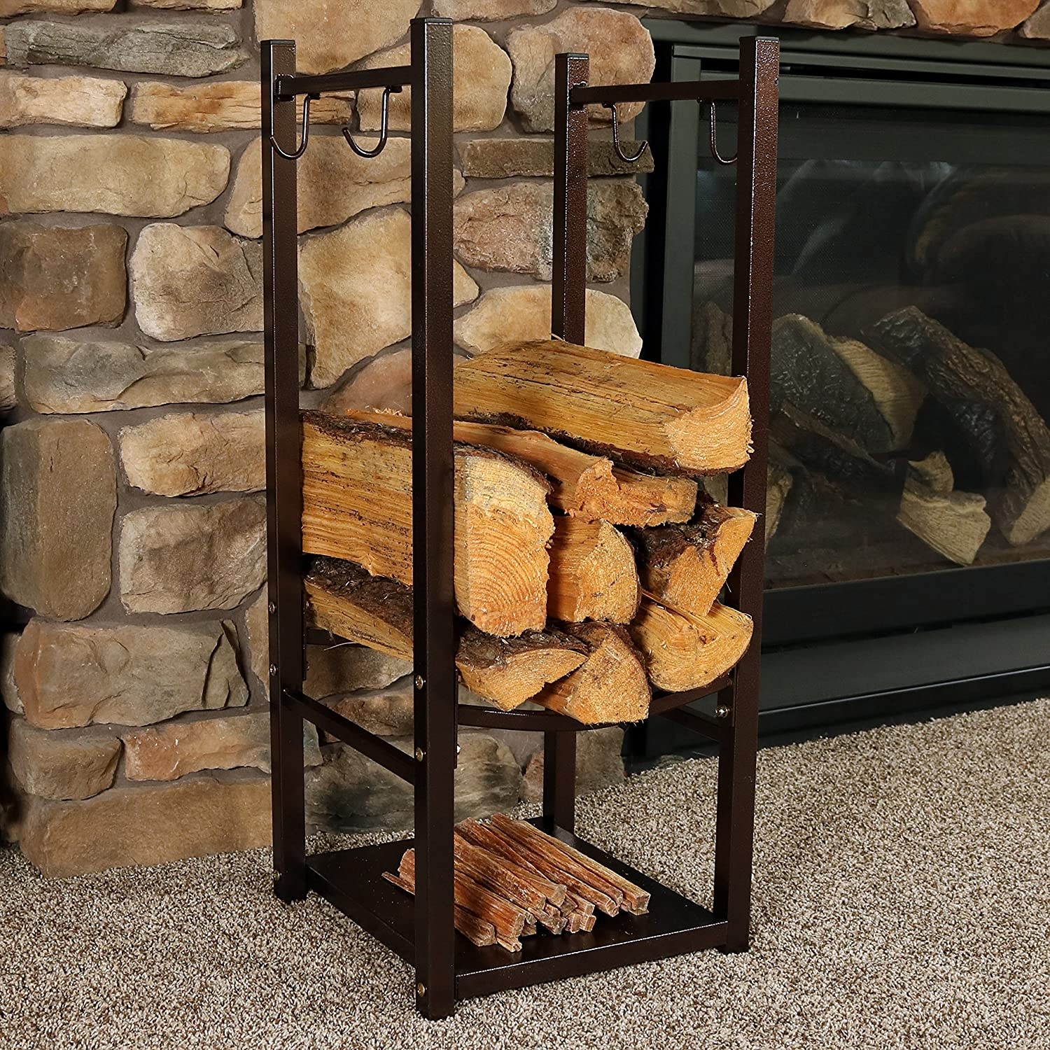 Amazoncom Sunnydaze Firewood Log Rack With Tool Holders, Indoor Or