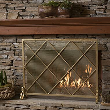 Great Deal Furniture 302043 Hayden Single Panel Gold Iron Fire Screen