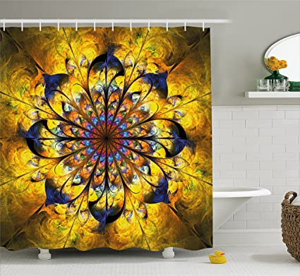 Ambesonne Yellow And Blue Shower Curtain Mandala With Golden Floral Ornamental Psychedelic Fantasy Rays Asian