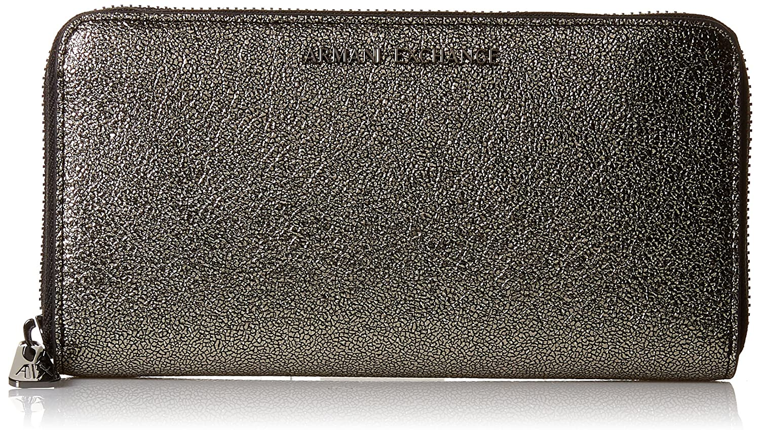 A|X Armani Exchange Round Zip Metallic Wallet