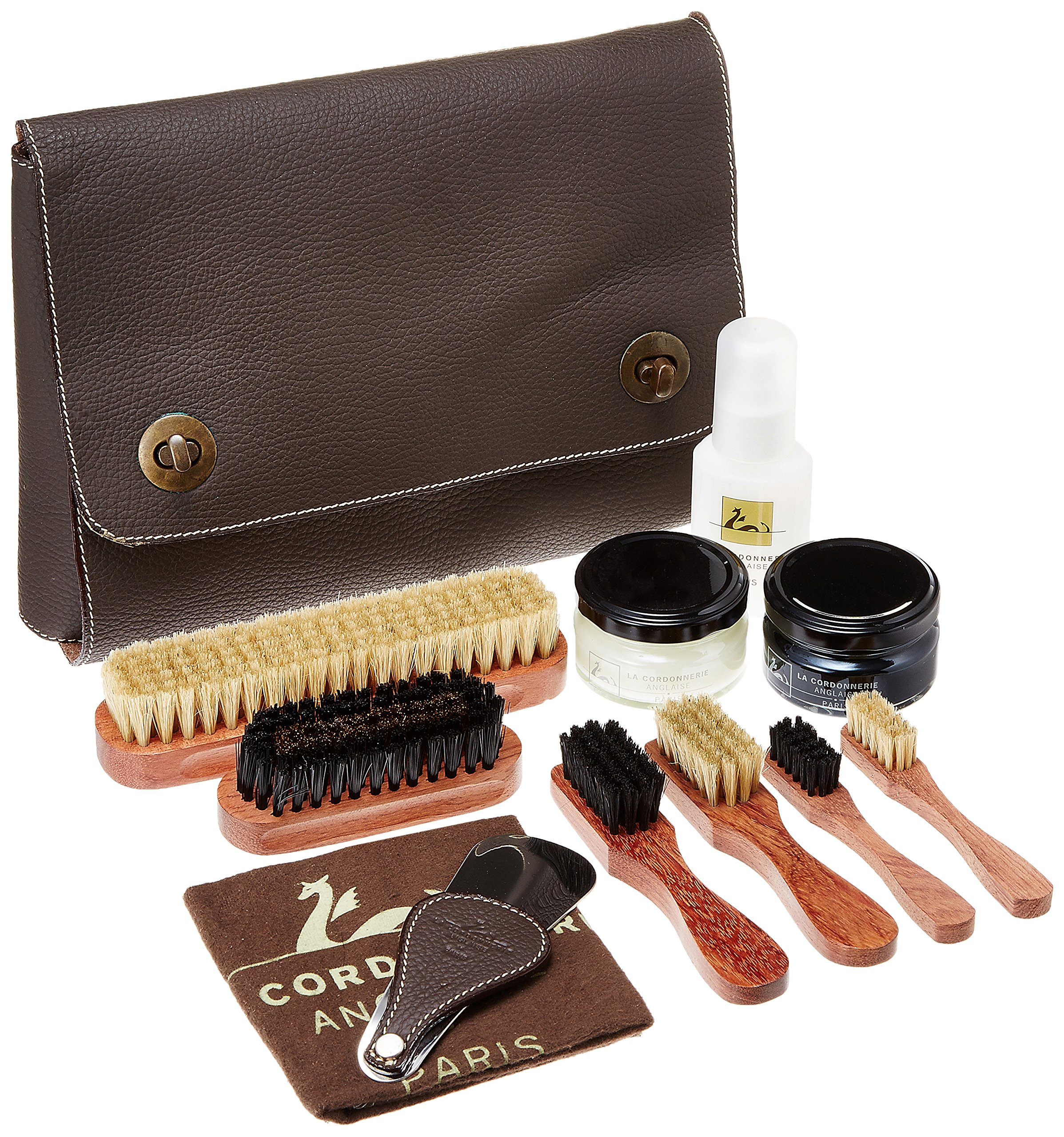 La Cordonnerie Anglaise Luxury Shoe Care Kit - Genuine Leather Case - Nomand Made In France by La Cordonnerie Anglaise