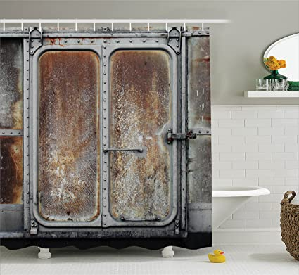 Ambesonne Industrial Decor Shower Curtain Set Vintage Railway Container Door Metal Old Locomotive Transportation Iron