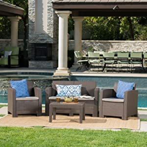 Christopher Knight Home Daytona Outdoor Faux Wicker Rattan Style Chat Set with Water Resistant Cushions, 4-Pcs Set, Brown / Mix Beige