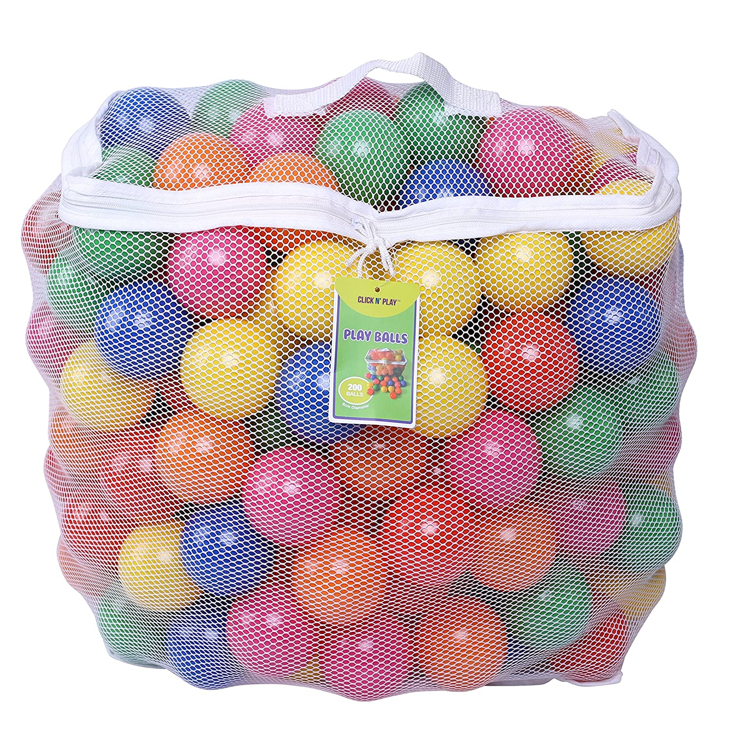 Click N Play Phthalate Free BPA Free Crush Proof Plastic Ball, Pit Balls 6 Bright Colors in Reusable and Durable Storage Mesh Bag with Zipper