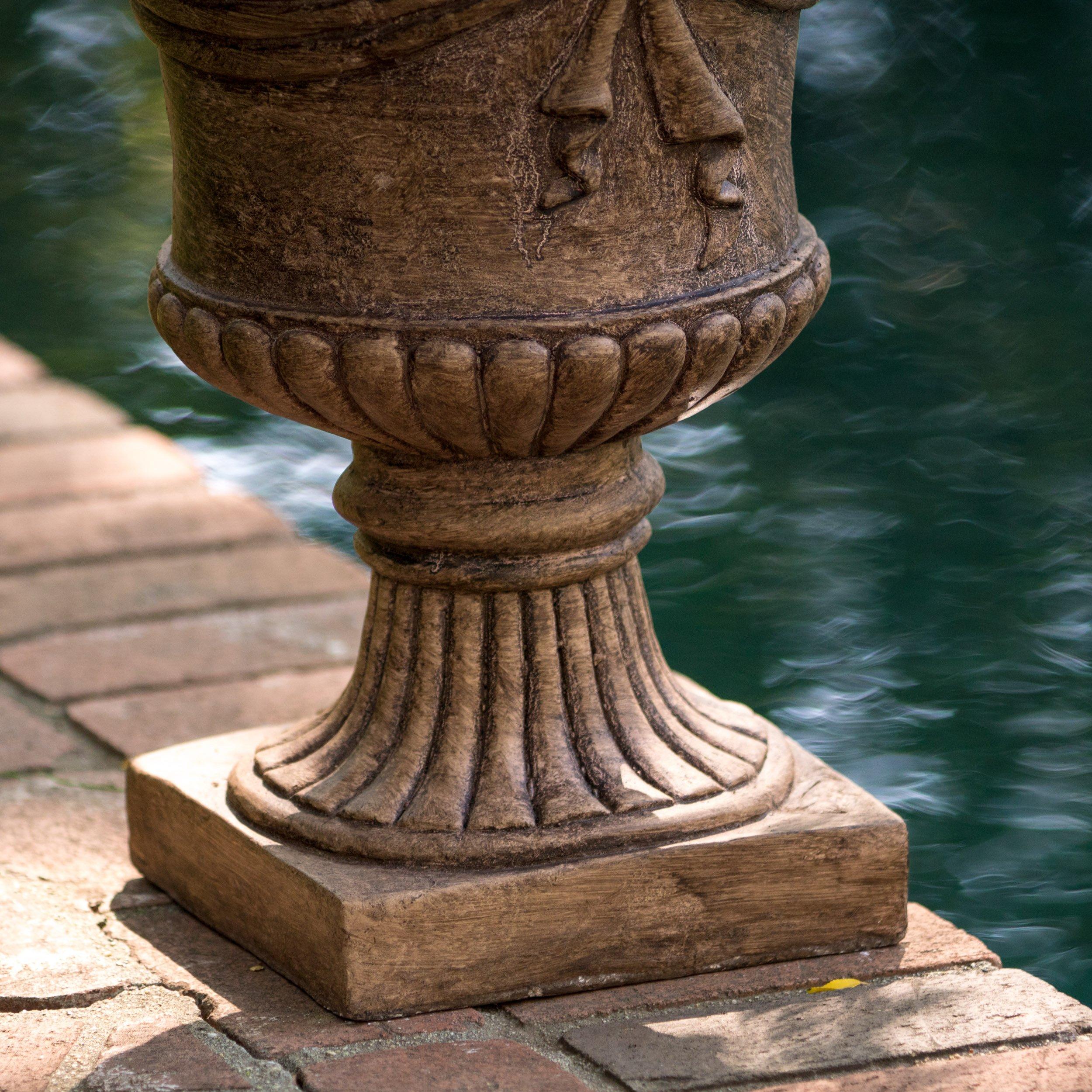 Great Deal Furniture Ferrara Antique Light Brown Stone Planter by Great Deal Furniture