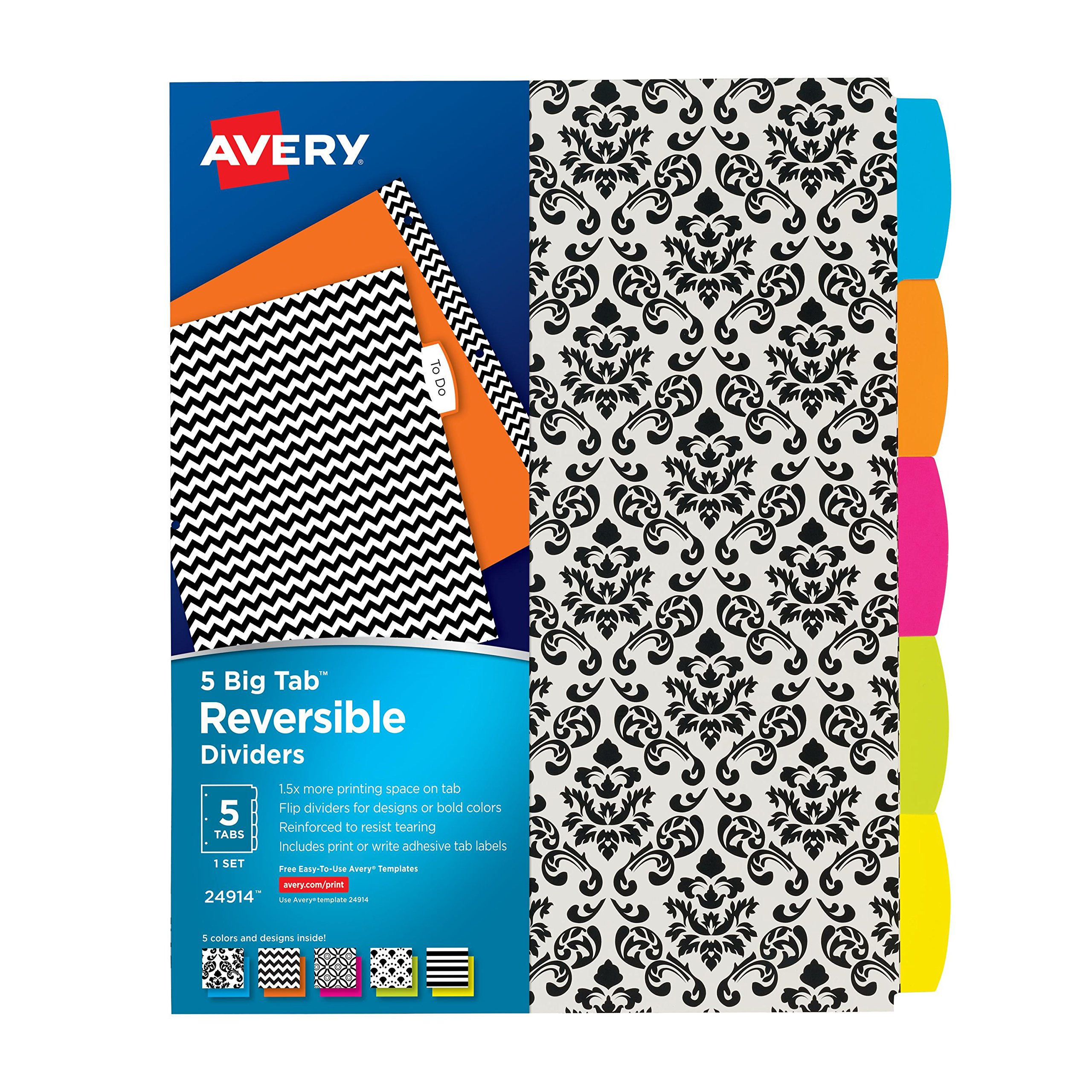 avery big tab reversible fashion dividers 5 tabs 1 set assorted designs