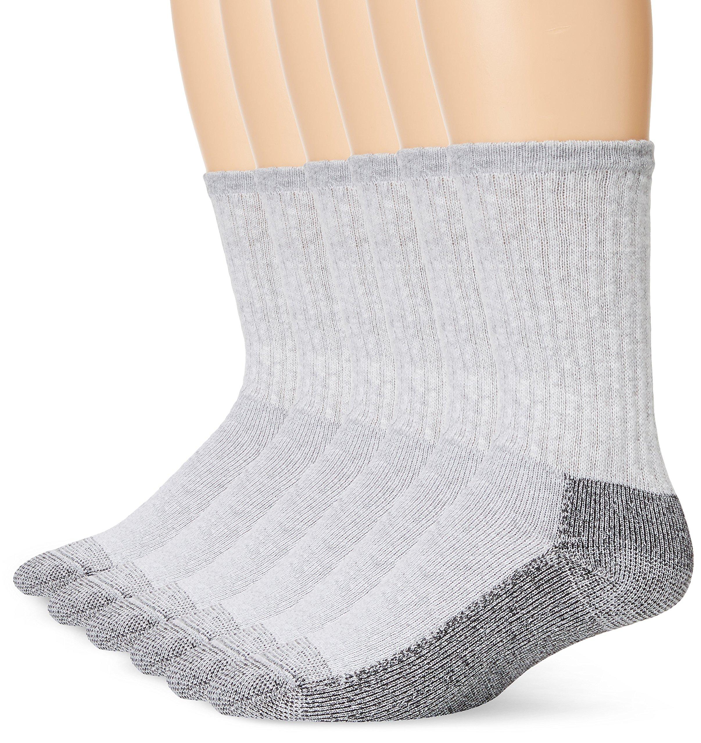 Fruit Of The Loom Men's 6 Pack Heavy Duty Reinforced Crew Socks, Grey, Shoe Size 6-12/Sock Size 10-13