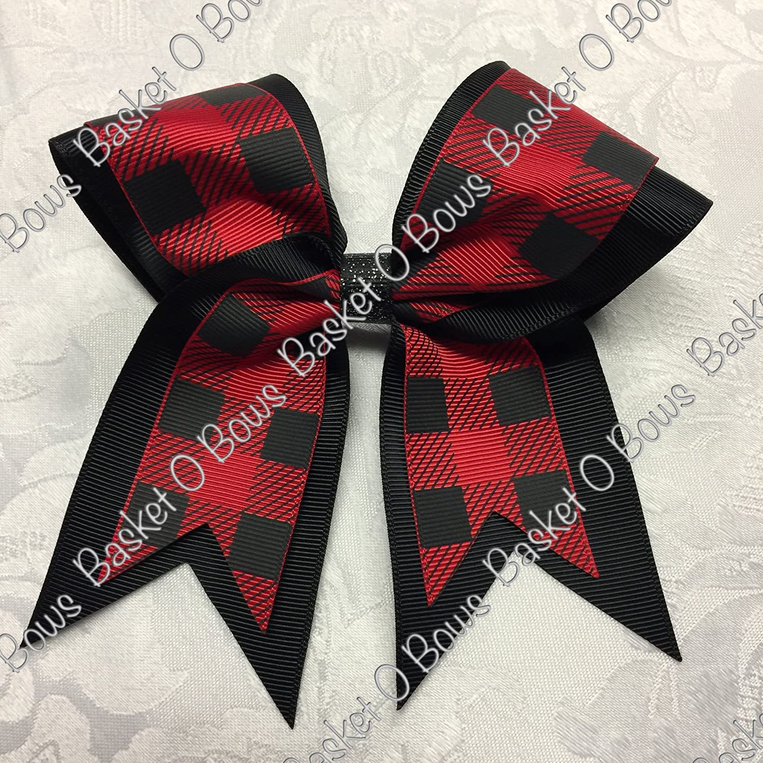Small Bow ~ Red with Black Buffalo Plaid Hair Bow ~ 2-layer ~ Made to Order