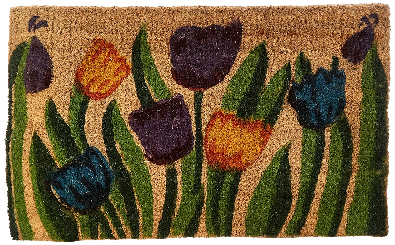 \'Tulip Garden\' Decorative Coir Outdoor Front Doormat, 18 x 30-Inch