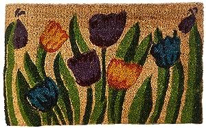 """Rubber-Cal Tulip Garden Decorative Coir Doormat - 18"""" x 30"""" Outdoor Front Door Mat"""