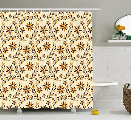 Amazoncom Lunarable Yellow And Brown Shower Curtain Spring Petal