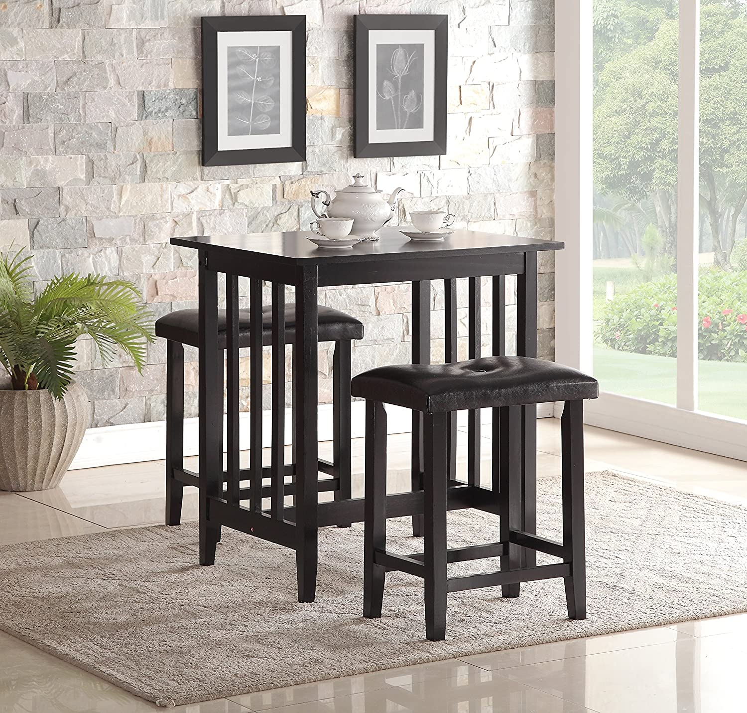 Amazon.com   Roundhill Furniture 3 Piece Counter Height Dining Set With  Saddleback Stools, Black   Table U0026 Chair Sets