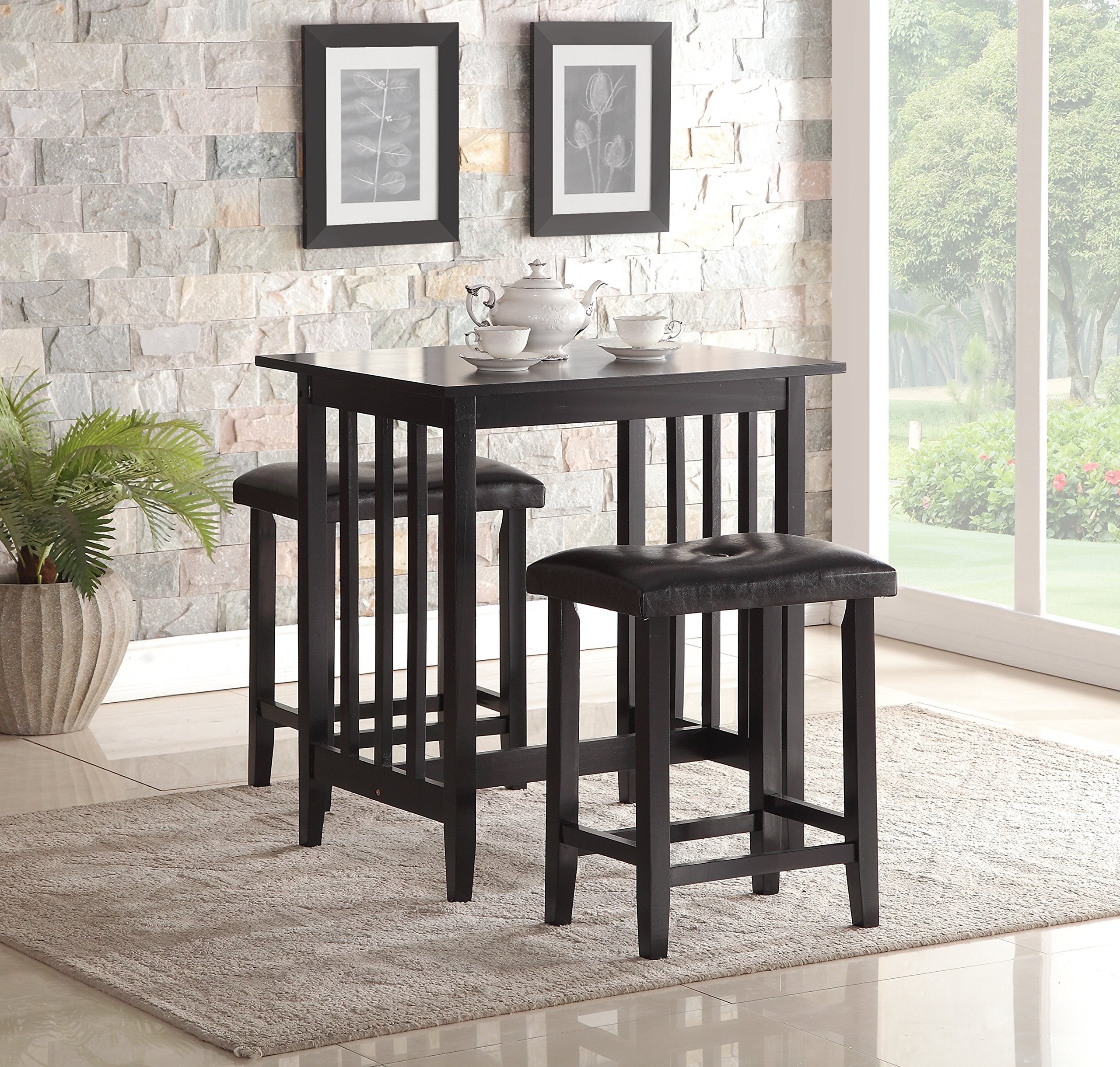 Roundhill Furniture 3-Piece Counter Height Dining Set with Saddleback Stools, Black by Roundhill Furniture