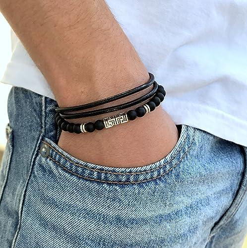 Amazon Mens Wrap Leather Wristband Men Onyx Beaded Bracelet
