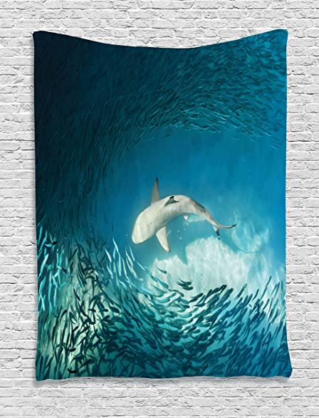 Sea Animals Decor Tapestry Wall Hanging By Ambesonne, Shark And Small Fish  In Ocean Wilderness