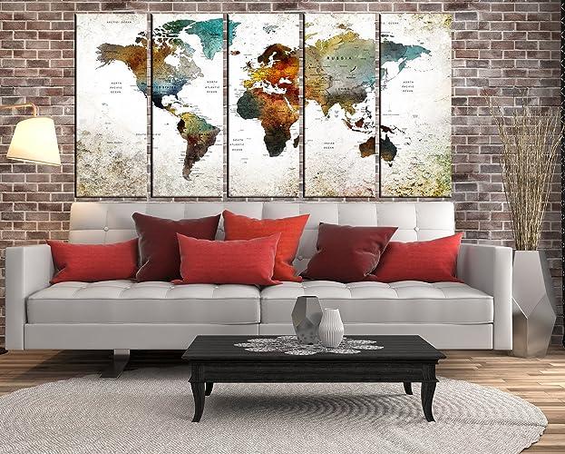 Amazon.com: Modern Wall Art World Map Framed Globe Travel Map Push ...