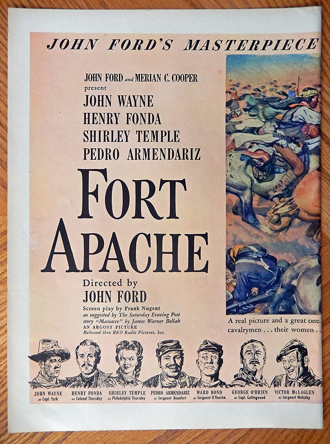 Amazon.com: Fort Apache, Original Movie advertisment 40s Print ad. Two Full Pages Color Illustration [two pages](John Ford movie--John Wayne, Henry Fonda, ...