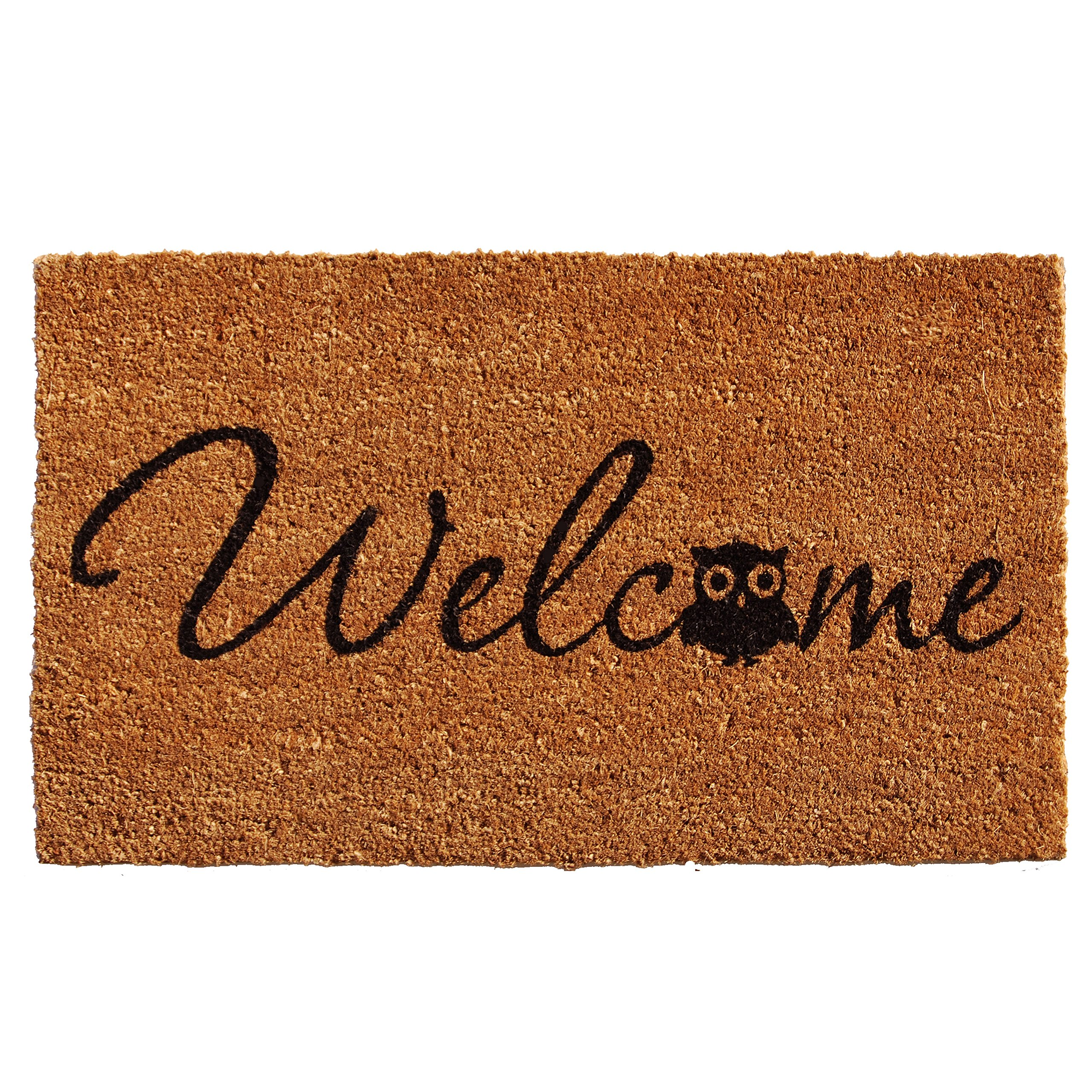 Home & More 121481729 Barn Owl Welcome Doormat, 17'' x 29'' x 0.60'', Natural/Black