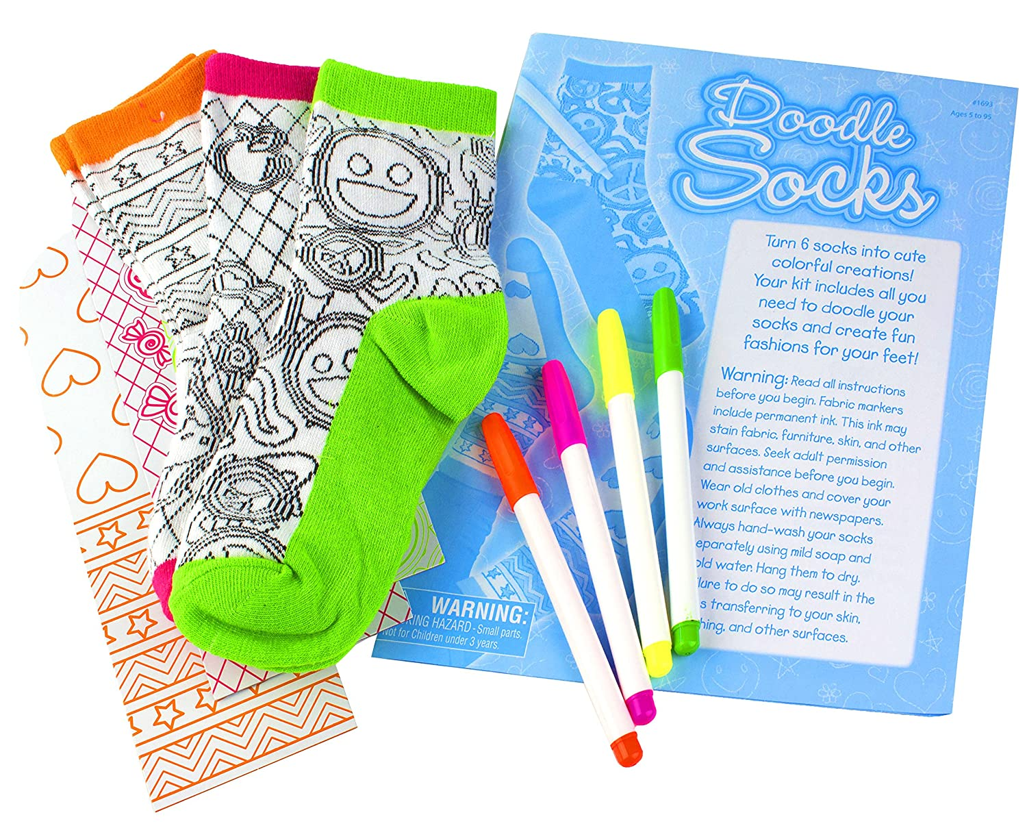 Amazon.com: Creativity for Kids Doodle Socks – 3 Pairs of Socks to ...