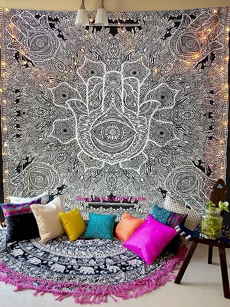 Raajsee - Tapiz para colgar en la pared, diseño de mandala, algodón, color negro, 220 x 208 cm: Amazon.es: Hogar