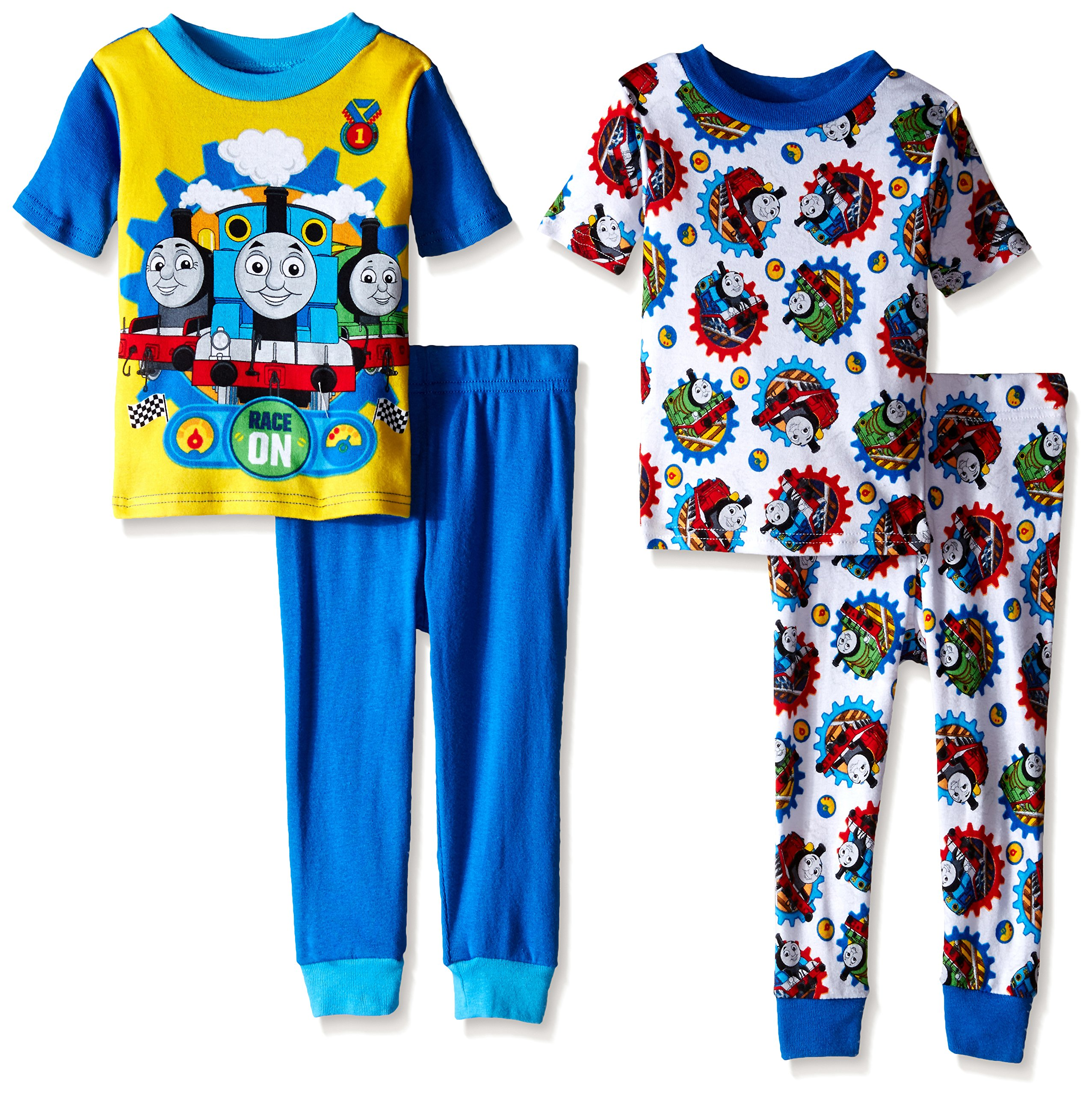 Thomas the Train Little Boys Racing On with Friends 4-Piece Pajama Set Blue 4T