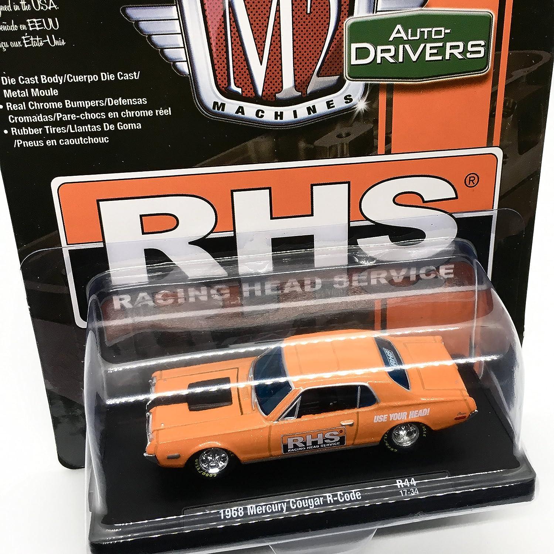 Amazon.com: M2 Machines 1968 Mercury Cougar R-Code (RHS) Orange Metallic w/Semi-Gloss Black Stripe Auto-Drivers Release 44 - Castline 2017 Special Edition ...