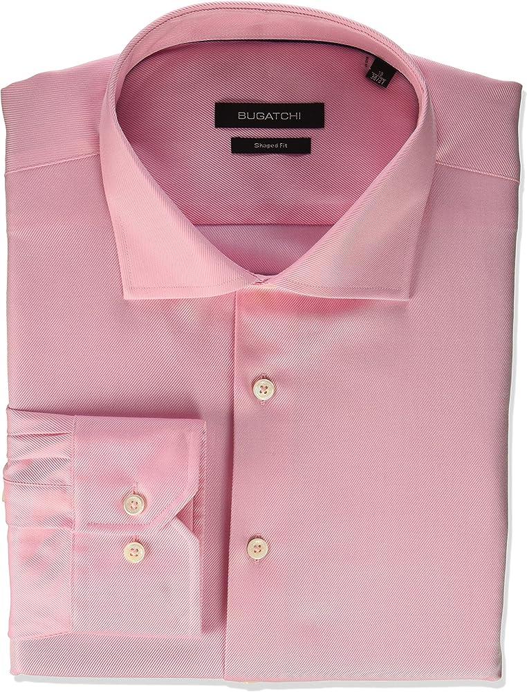 Bugatchi Hombre JS6502D15S Cuello tipo italiano] Manga Larga Camisa de vestir - Rosa - 39: Amazon.es: Ropa y accesorios