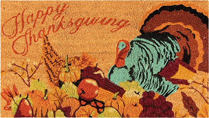 Toland Home Garden Turkey Thanks 18 x 30 Inch Decorative Thanksgiving Floor Mat Cute Pilgrim Doormat