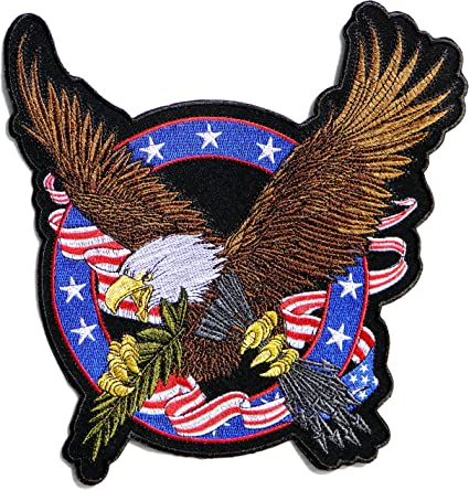 Eagle Flag American Eagle USA Embroidered Iron On Patriotic Patch