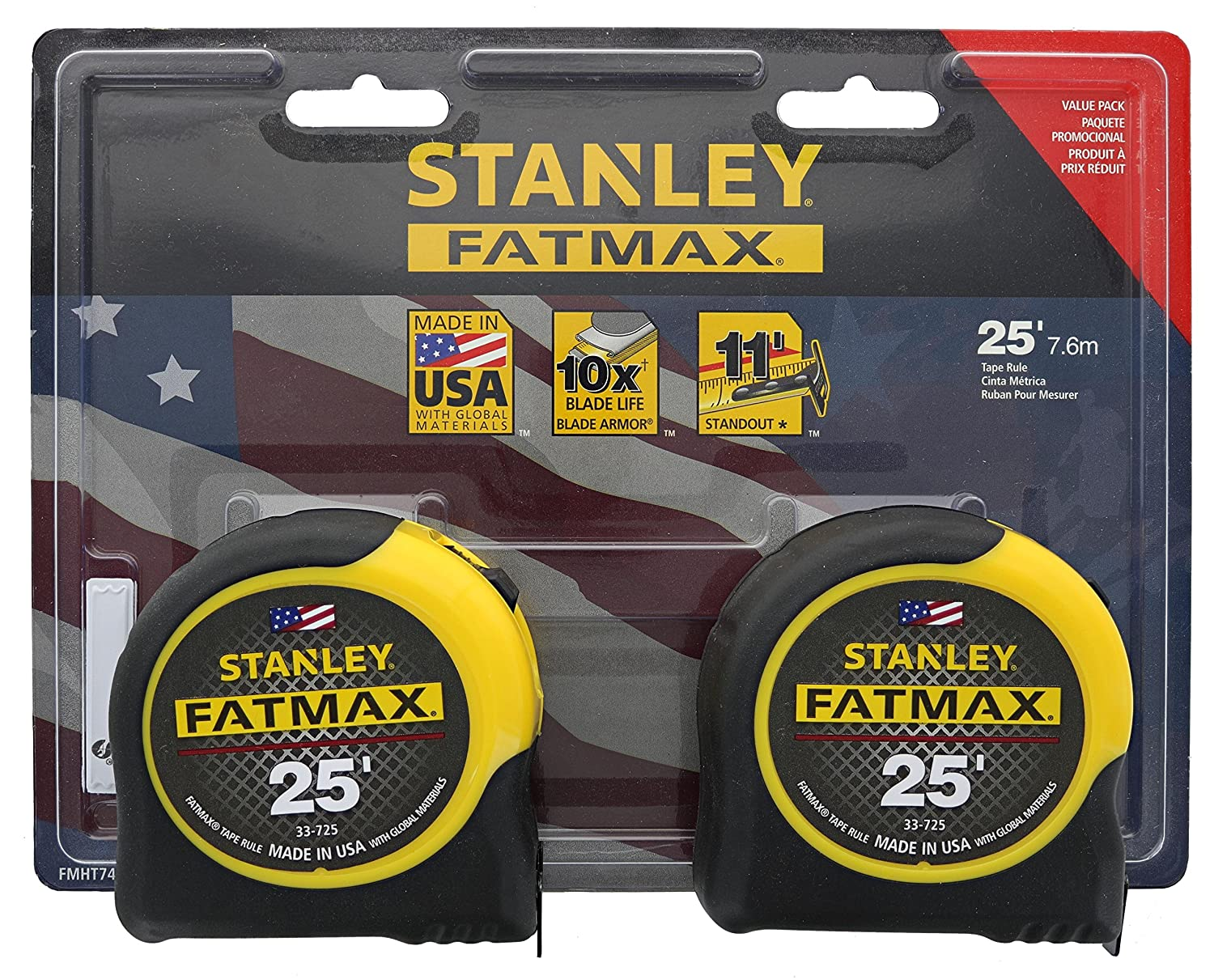 Stanley Consumer Tools FMHT74038 25' Fatmax Tape Measure 2 Pack