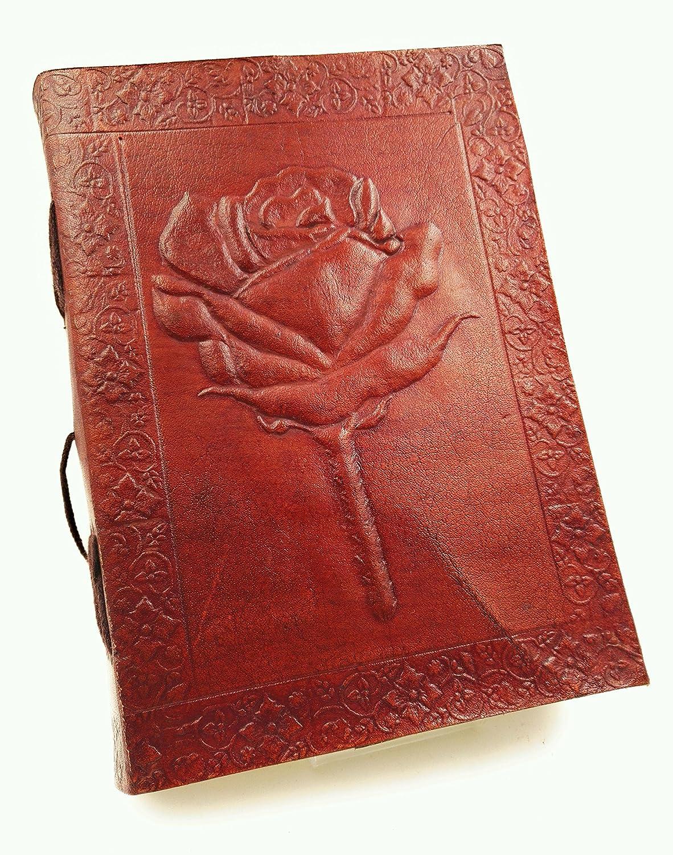 Kooly Zen–Quaderno, Blocco note, Giornale, Libro, Vera Pelle, Vintage, Fiore Rosa, 13cm X17cm, carta Premium Kooly Zen-Quaderno