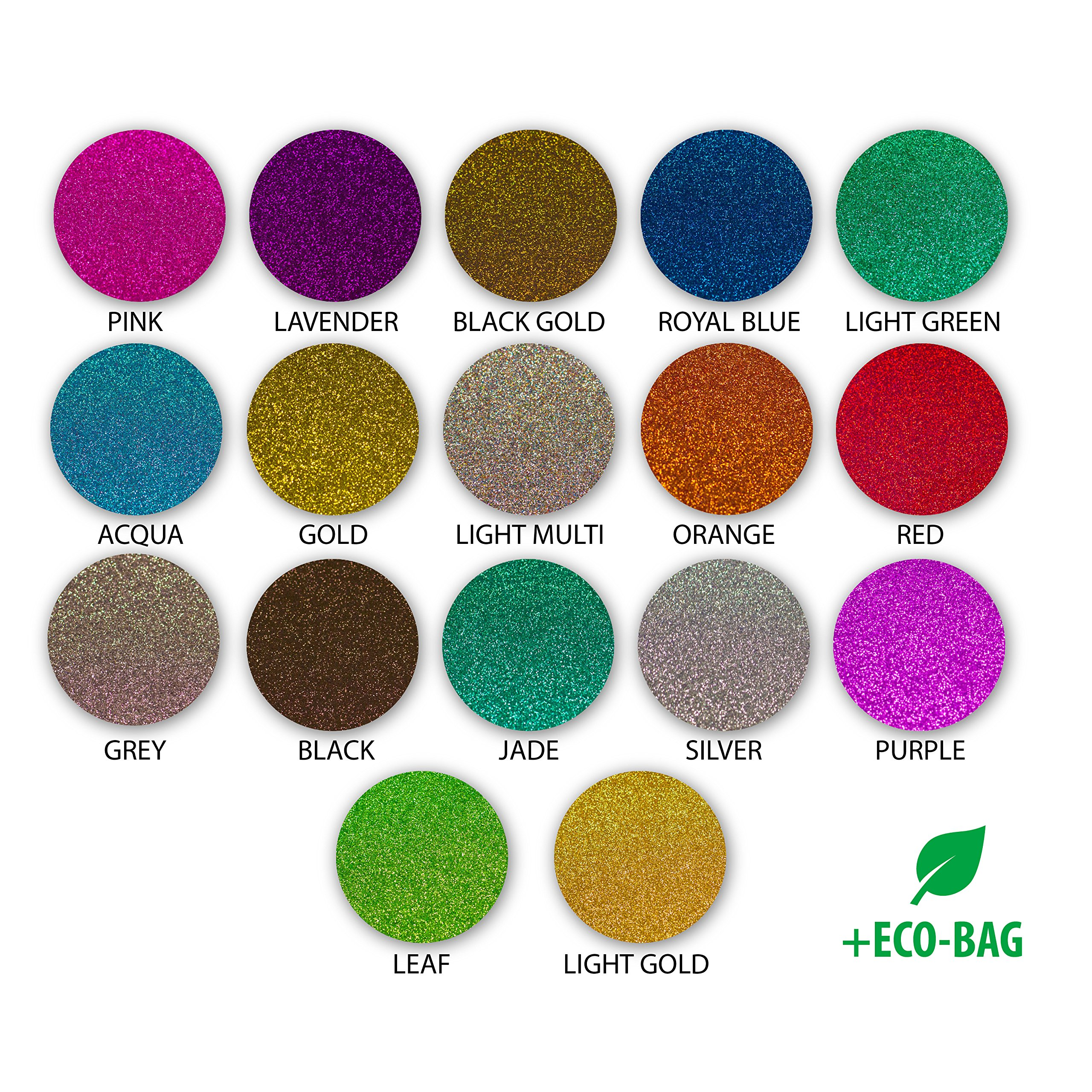 Glitter Heat Transfer Vinyl - 17 Variety Pack 12x10 inch HTV Sheets - A Starter Bundle that is Easy to Weed HTV with Glitter for your T Shirts