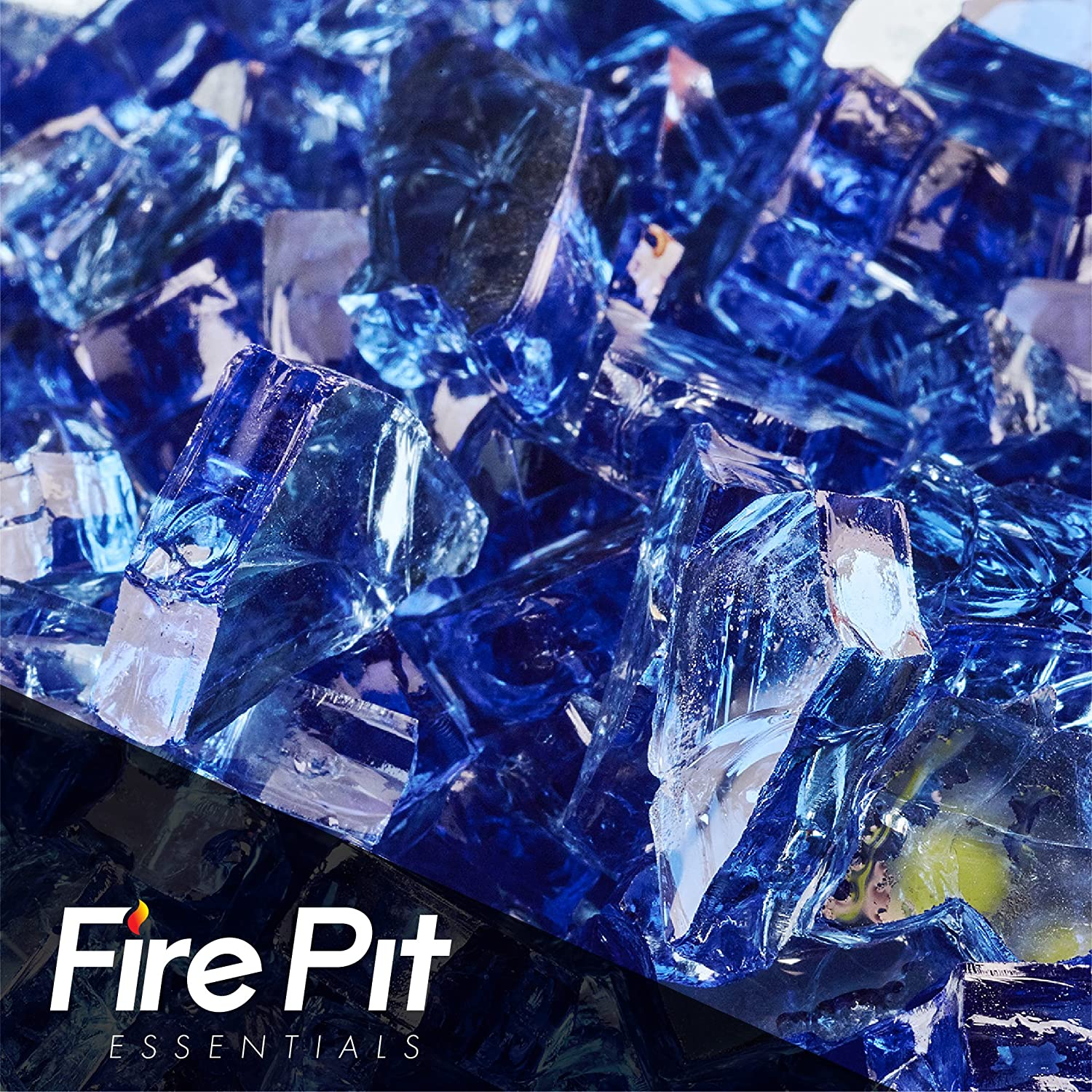 Fireglass 10-pound Reflective Fire Glass with Fireplace Glass and Fire Pit Glass, 1/4-inch, Cobalt Blue Fire Pit Essentials