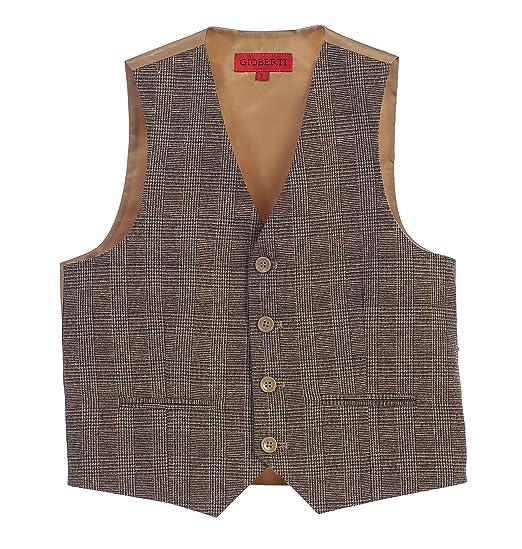 8f0f001ed3 Gioberti Boy's Tweed Plaid Formal Suit Vest