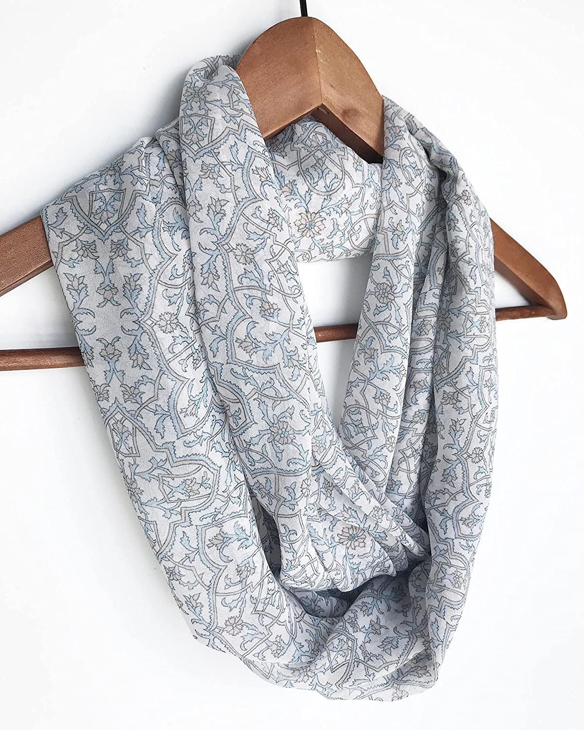 Pastel Blue Floral Scarf For Woman, Birthday Gift For Mom, Christmas Gift