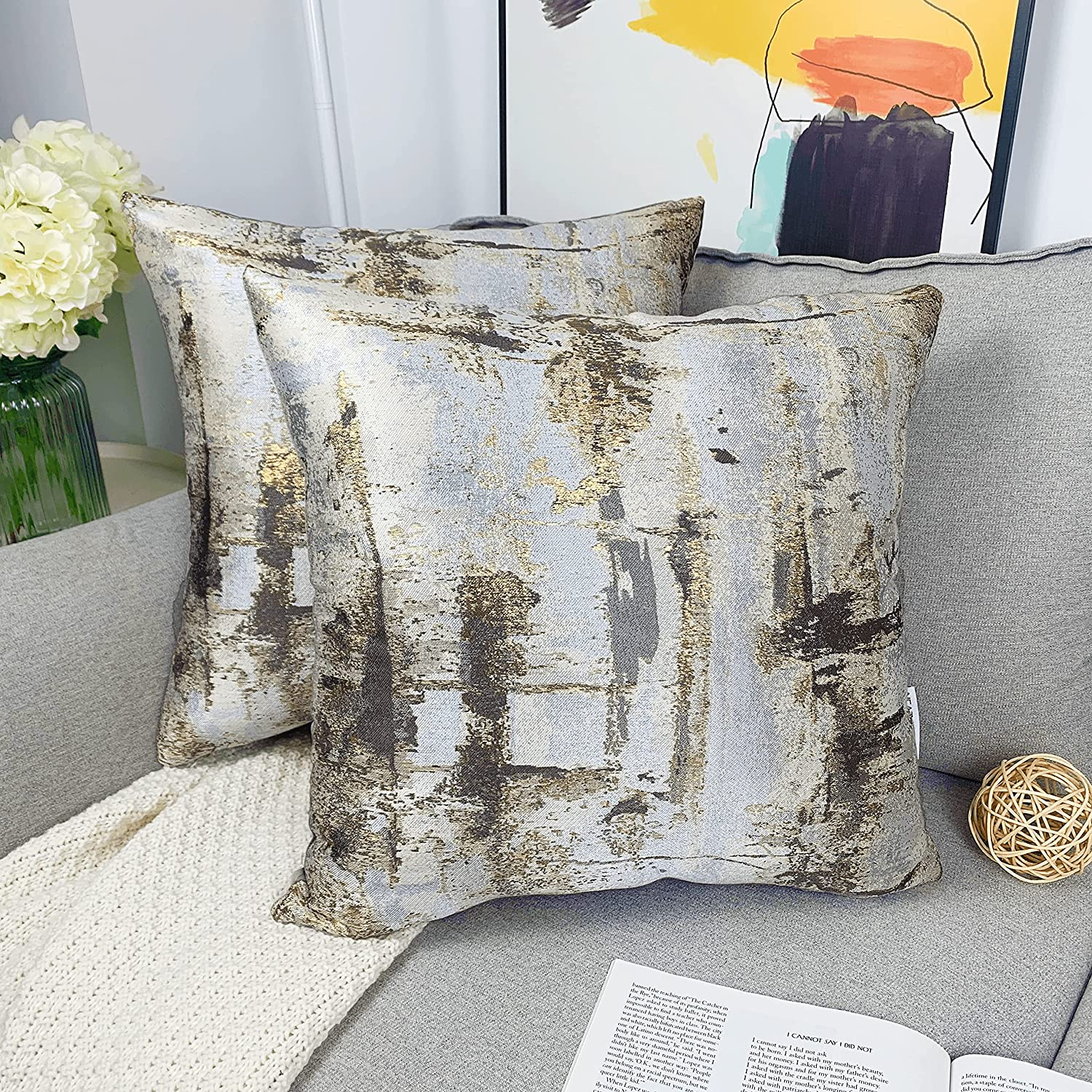 NeatBlanc Jacquard Abstract Decorative Throw Pillow Cover Luxury Pillow Case Cushion Cover 18 x 18 inches 45 x 45 cm for Couch Bed Car Office (Brown/Silver/Gold - 2 Pack, 18 x 18)