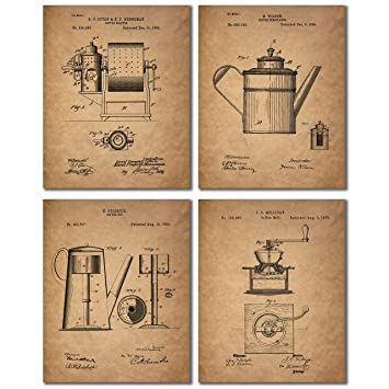 Genial Coffee Patent Prints   Set Of Four Coffee Bar Unique Kitchen Decor Wall Art  Photos 8x10