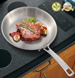 10 Inch Stainless Steel Frying Pan Stainless Steel Skillet Induction Pan,Pro-Health Professional Open Skillet,Tri-Ply Saute Pan,Dishwasher/Oven Safe(Outer Diameter 10 Inch)