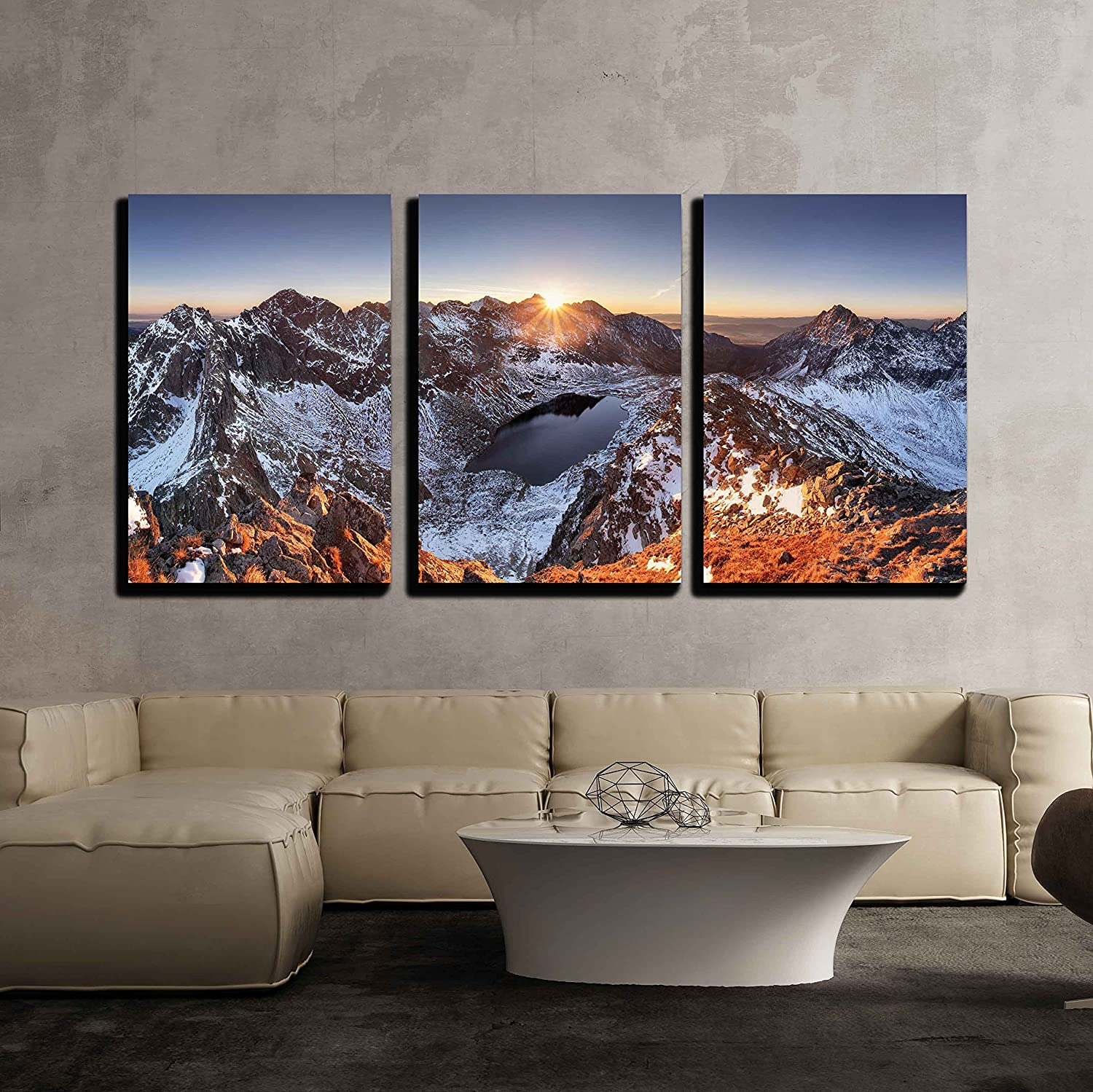 Amazon Com Wall26 3 Piece Canvas Wall Art Mountain Panorama At Winter Fall In Slovakia Tatras Modern Home Art Stretched And Framed Ready To Hang 16 X24 X3 Panels Posters Prints