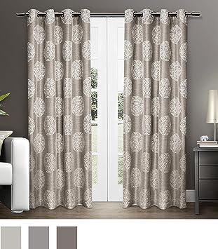 Exclusive Home Curtains Akola Medallion Linen Jacquard Grommet Top Window  Curtain Panel Pair, Natural,